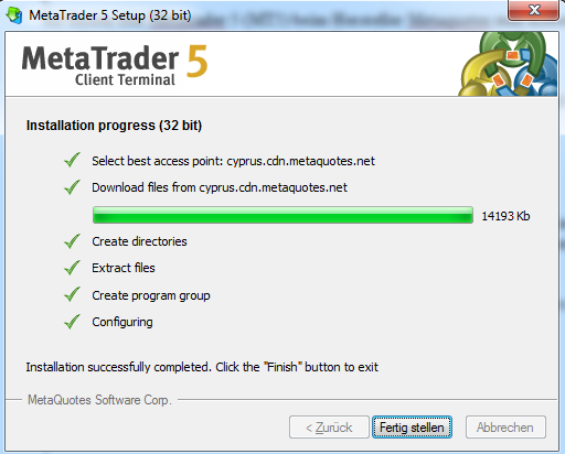 Metatrader 5 Download und Installationsanleitung - Bild 5.
